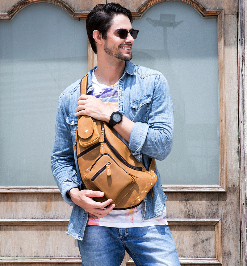 Image 3 - MAHEU Mens Genuine Leather Chest Bag Leather Big Capacity  Crossbody Bag Casual Male Riding Messenger iPad Cell Phone Sling  Bagchest bagbag casualmessenger bag