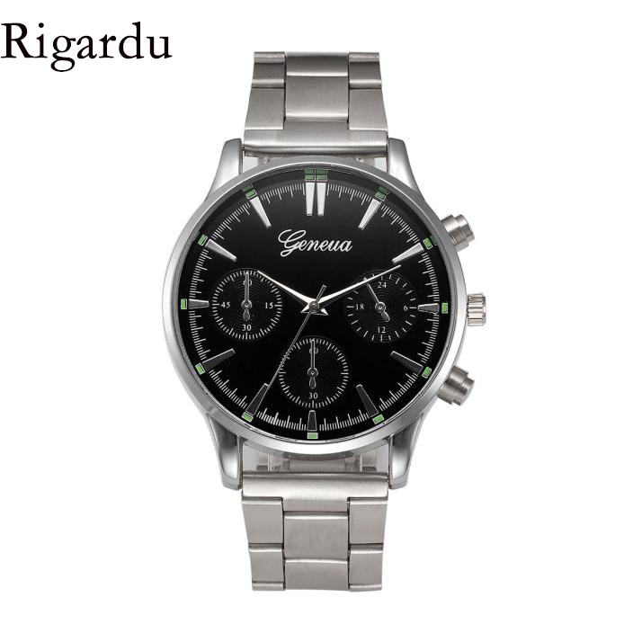 RIGARDU Luxury Men Wrist Watch Stainless Steel Band Dial Male Gift Classic Quartz Wrist Watches relogio masculino #25 iw 8758g 3 men s and women s quartz watch fabric classic canterbury stainless steel watch with multi color striped band