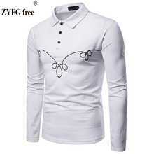 ZYFG free men Polo shirt chest embroidery long-sleeved turn-down collar polo simple gentleman tops manwear