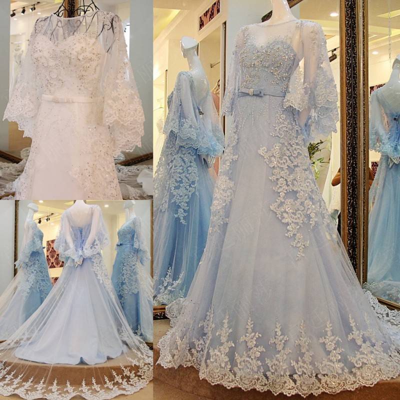 White light blue wedding dresses flare sleeve bridal gowns for Blue wedding dress with sleeves