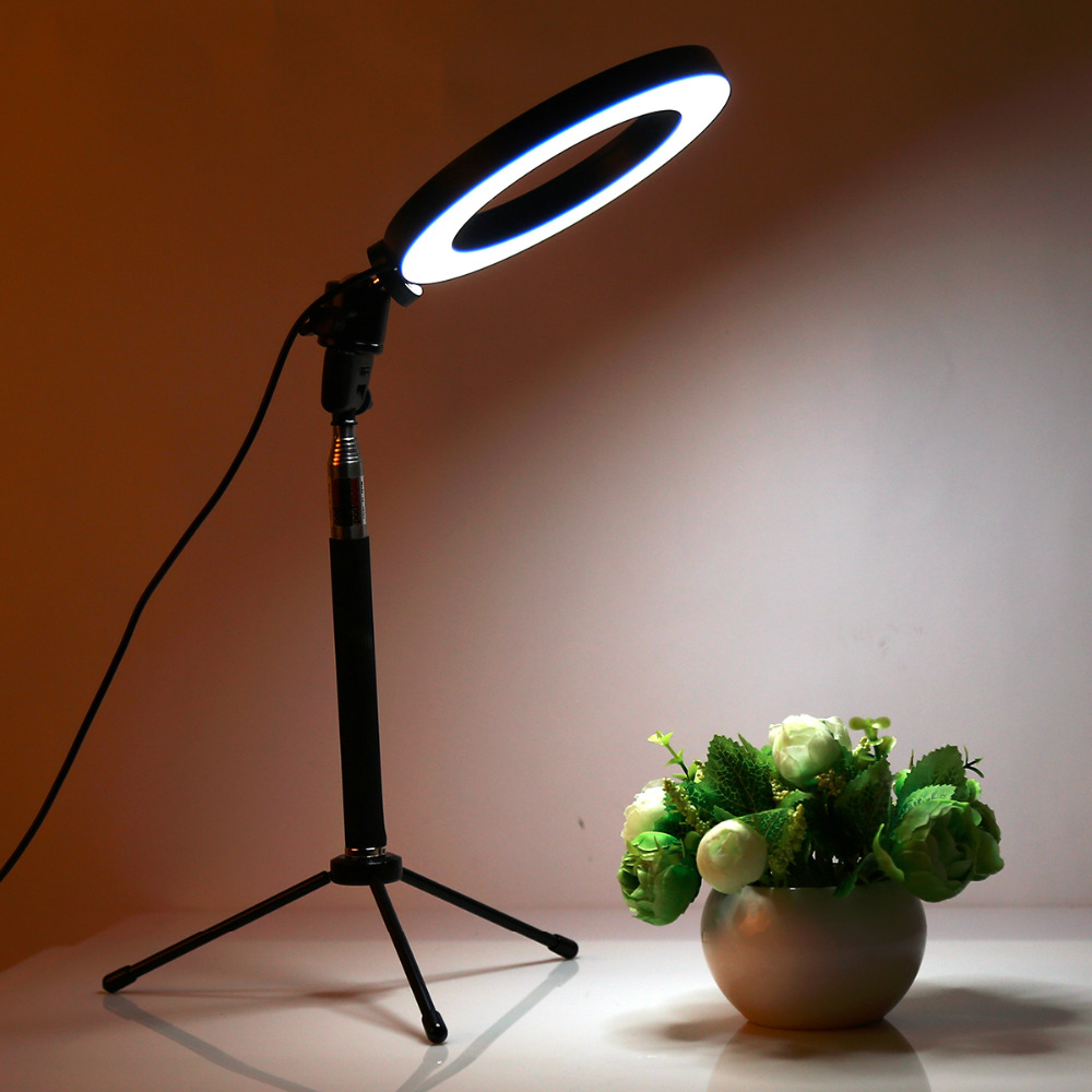 Dimmable LED Studio Camera Ring Light Photo Phone Video Light Lamp With Tripods Selfie Stick Ring Table Fill Light For Canon(China)