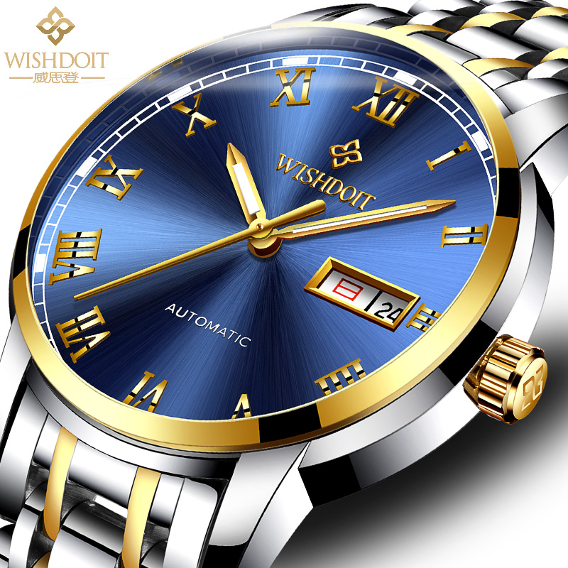 WISHDOIT Watch Men Fashion Sports Watch Gold Business Mens Watches Top Brand Luxury Waterproof Mechanical  Watch Reloj Hombre   WISHDOIT Watch Men Fashion Sports Watch Gold Business Mens Watches Top Brand Luxury Waterproof Mechanical  Watch Reloj Hombre
