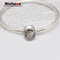 Authentic 925 Sterling Silver Poetic Blooms, Mixed Enamels & Clear CZ Clasp Bangle Bracelet Fit European Jewelry