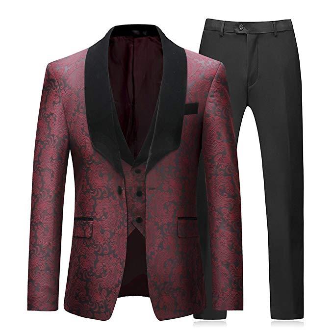 YUNCLOS EU Size Mens 3 Piece Tuxedos Vintage Groomsmen Wedding Suit Complete Outfits(Jackets+Vest+Trousers)