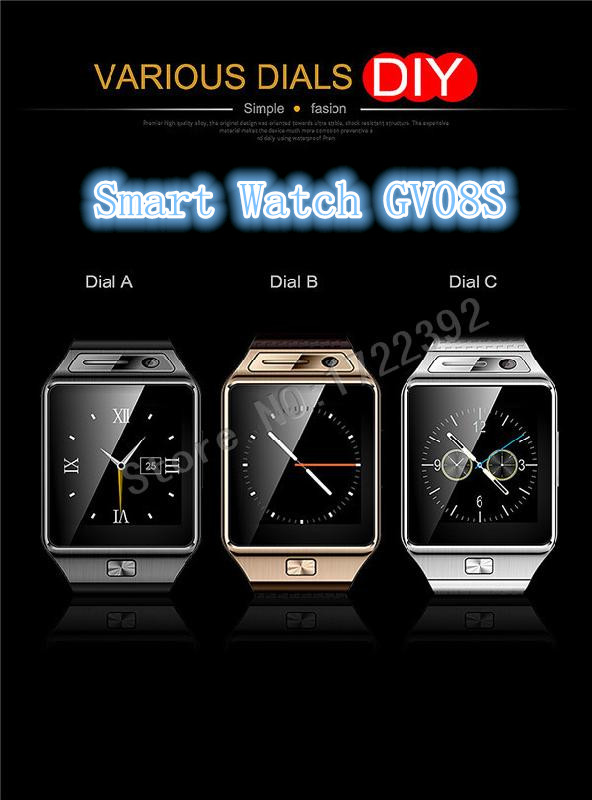 2015 New Bluetooth font b Smartwatch b font GV08S Smart Watch Support SIM TF SMS MP3