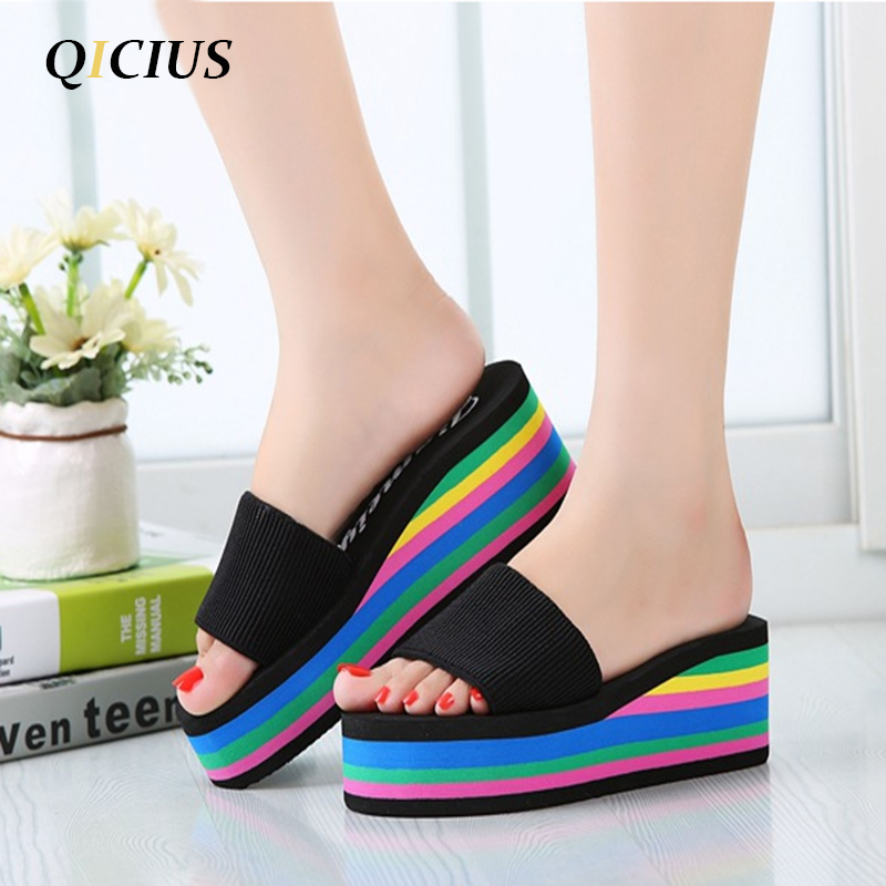 QICIUS Women Sandals Platform Rainbow Non-Slip Thick Soled Female Wedge Women Slippers Summer 2018 Beach Slippers T0245 slip resistant summer sandals female drag platform female beach slippers flatbottomed women s slippers