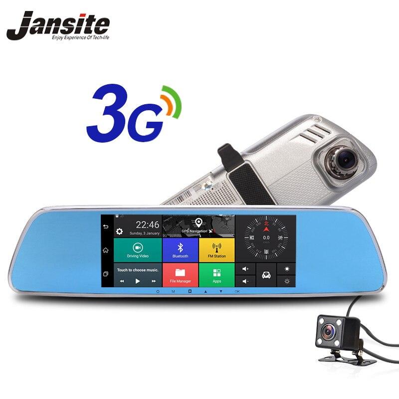 7 Jansite 3g Android Dvr Carro 5.0 Câmera Touch screen GPS gravador de vídeo do carro espelho retrovisor Bluetooth Wifi traço Cam Dvrs Carro