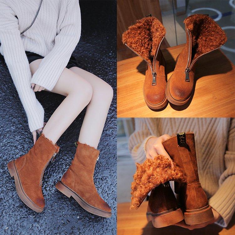 2018-Front-Zipper-Cool-Female-Snow-Boots-Plus-Fur-Winter-Shoes-Flat-Boots-Woman-Lamb-Fur(3)