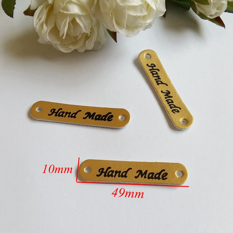 50PCs Hand made PU Leather decoration Sewing Garment Labels Household Textile Labels Tags Patchwork Apparel Accessorie 4.9x1cm