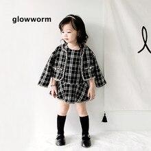 Glowworm kids baby suit autumn girl suit jacket black and white plaid jacket+princess skirt suit two-piece winter kids suit hs06