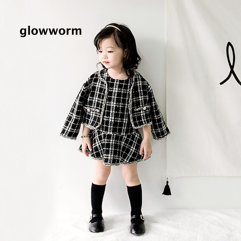 Glowworm kids baby suit autumn girl suit jacket black and white plaid jacket+princess skirt suit two-piece winter kids suit hs06Glowworm kids baby suit autumn girl suit jacket black and white plaid jacket+princess skirt suit two-piece winter kids suit hs06