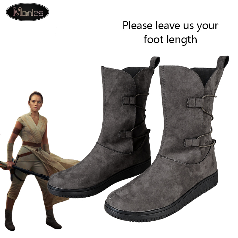 Rey Cosplay Star Wars 9 Movie The Rise Of Skywalker Boots Superhero Party Flat Only Shoes Ankle High Custom Halloween For Women