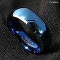 8 мм Tungsten мужская Синий Выпуклое со Скошенными Края Серебряный Кольцо Диапазона Бесплатная Доставка
