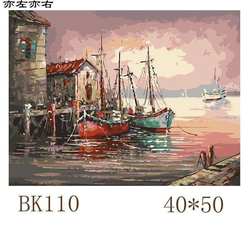 Pier рыбацкая лодка морской пейзаж DIY цифровой живописи по номерам современные стены Книги по искусству холст картины уникальный подарок дом...