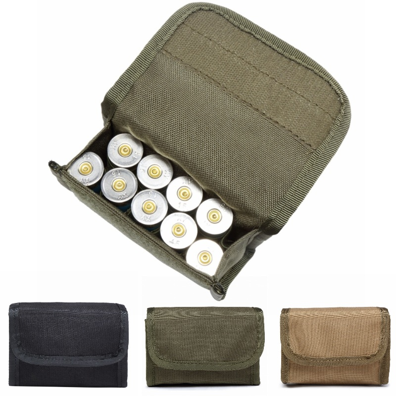 CQC 10 Round 12Gauge 12GA Ammo Shell Tactical Molle Pouch Military Army Hunting Bandolier Cartridge Magazine Holder Bag