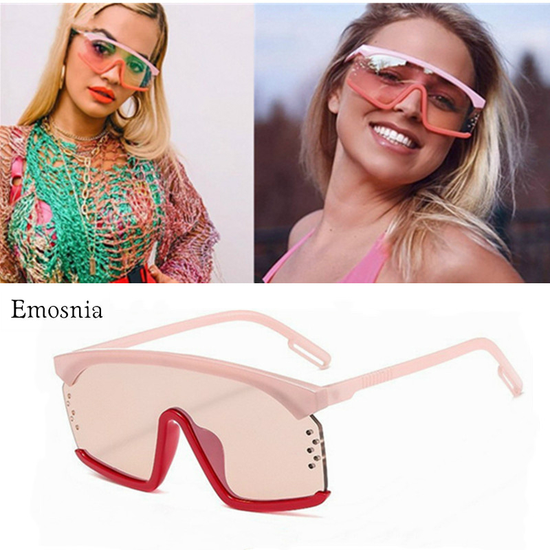 Outdoor Traveling Windproof Sunglasses Women Oversized Flat Top Sun Glasses For Ladies Square Gradient Lens Oculos Goggle Shades