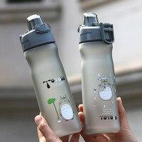 600ml Cartoon Totoro Plastic Water Bottle Kids Portable Sports Camping Bicycle Drinking Cup Fruit Lemon Drinkware