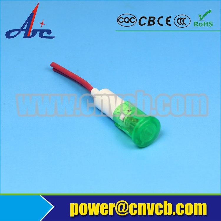 ZS74 10mm machine 110v 120v plastic docrator pilot lamp with 20cm cable pilot light