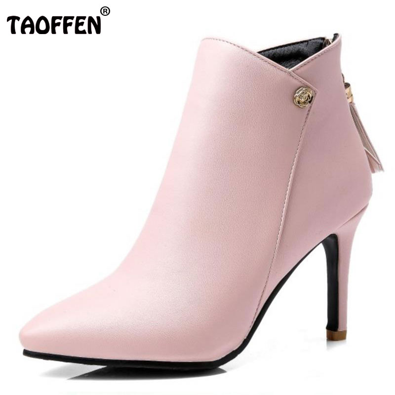 TAOFFEN Size 31-47 Women High Heel Boots Women With Tassel Zipper Mid Calf Boots Warm Fur Botaas Winter Shoes For Woman Footwear taoffen size 30 52 russia women round toe height increasing mid calf boots woman cross strap warm fur winter half shoes footwear