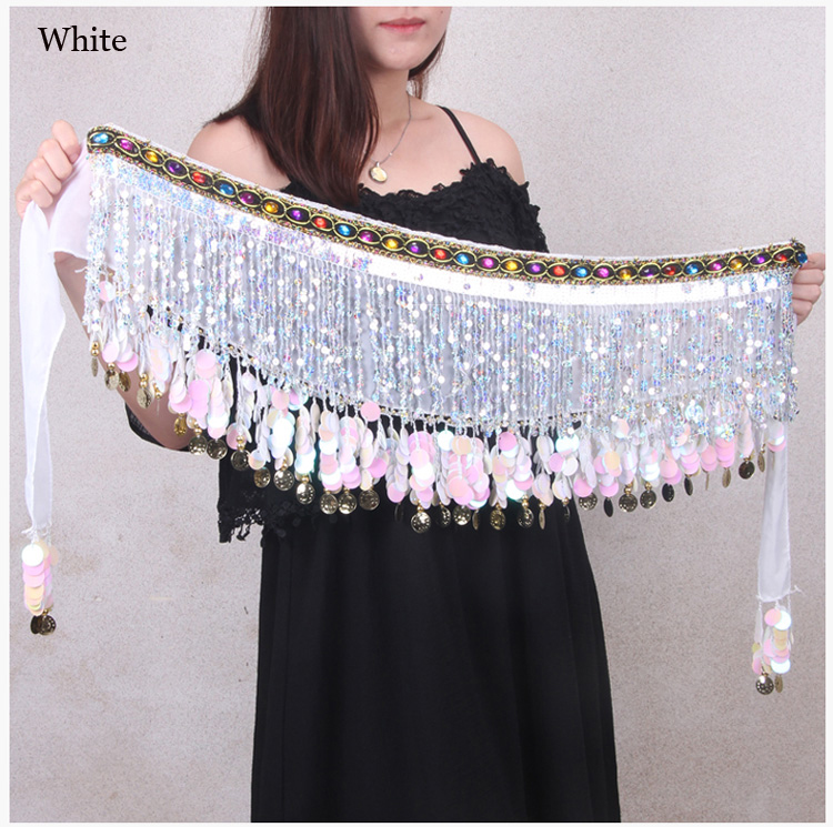Wholesale Belly Dance Accessories Women Dance Belt Gold Coins Dance Hip Scarf Girls Performance Costumes Free Shipping