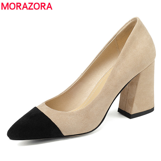 MORAZORA 2018 New summer flock brand women pumps slip on comfortable pointed  toe high heel nude black party wedding shoes e5409720bede