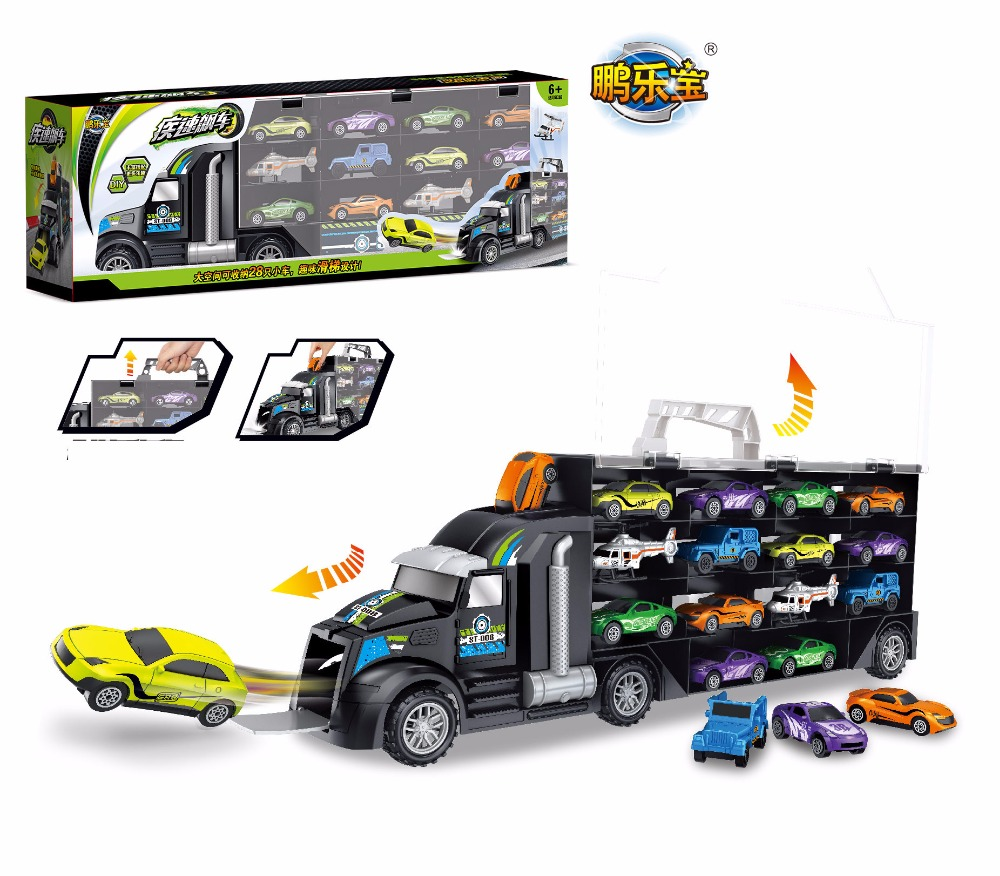 Really High Quality Truck <font><b>Hauler</b></font> with 12 small Cars Plane Baby Cartoon Models Kids Toys For Children Boy Christmas Gifts image