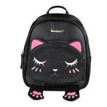 Cute Cat Animal Embroidery Backpacks Women Kawaii Black PU Leather Backpack for Teenage Girls Funny School