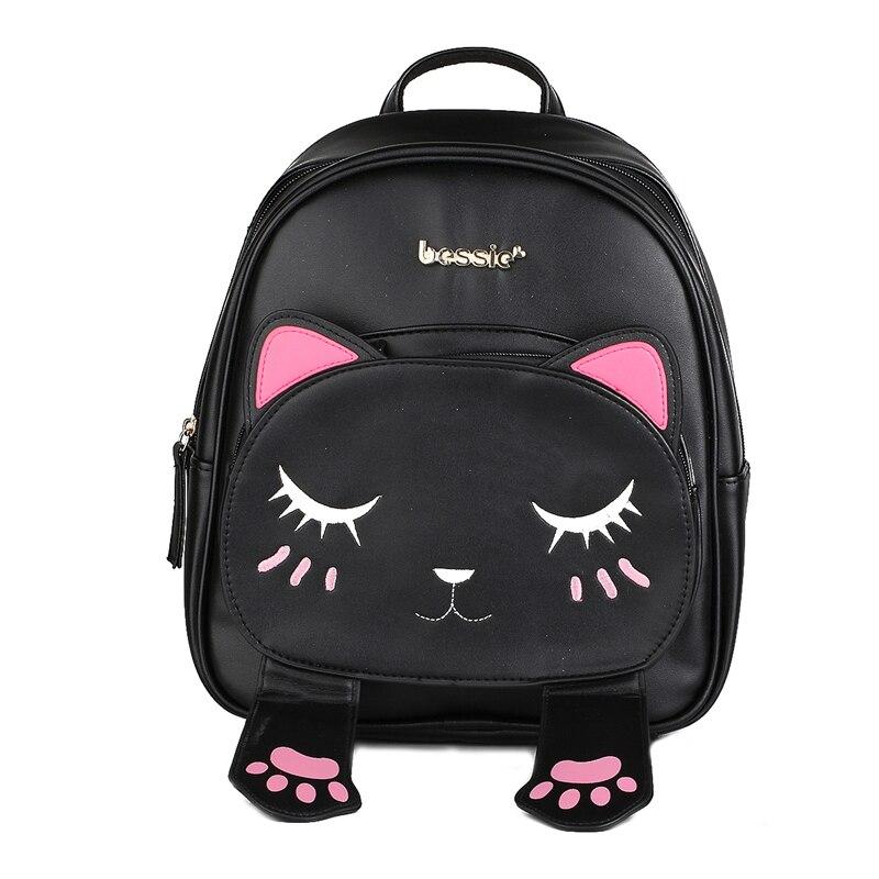 Cute Cat Animal Embroidery font b Backpacks b font font b Women b font Kawaii Black