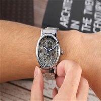 Prata Relógio Mecânico de Aço inoxidável Automático Auto Winding Skeleton Relógios Mãos Luminosas Relógio Masculino erkek k