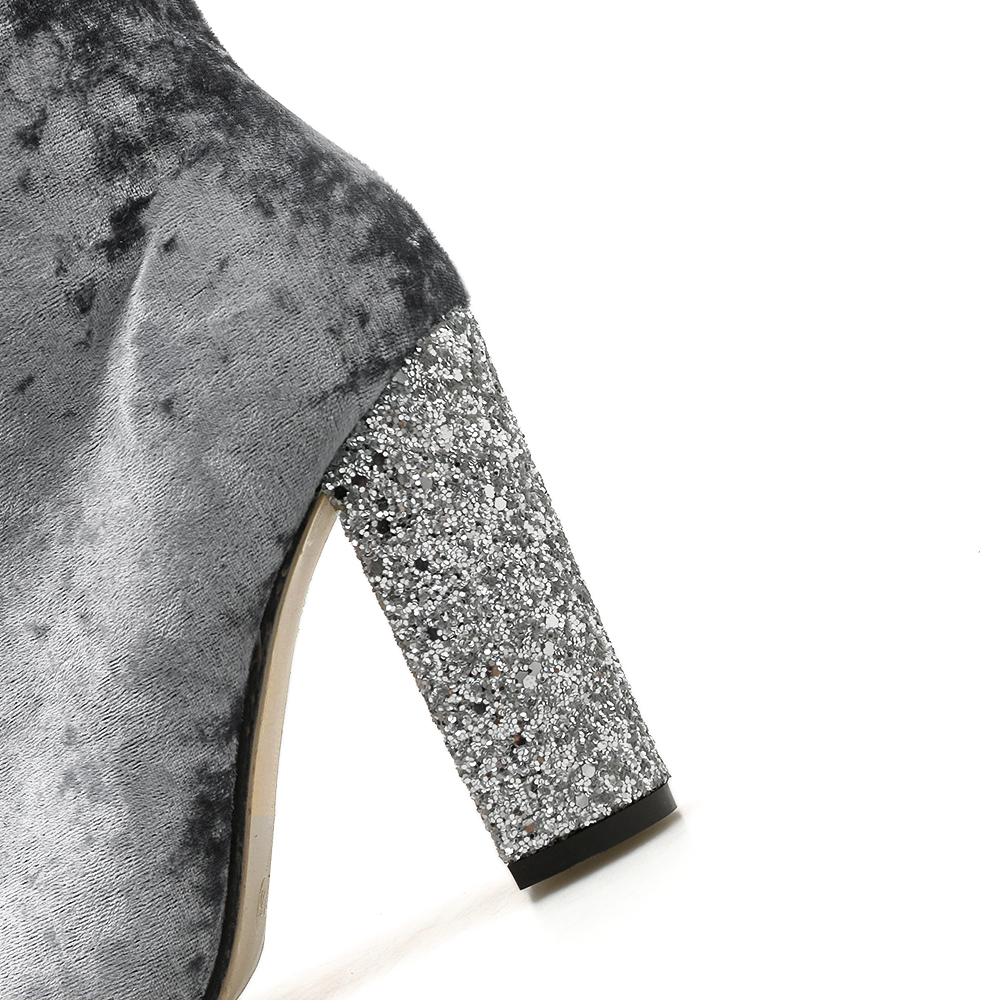 Tacón gray De Zapatos Mujeres Tobillo Velvet Bloque Aiykazysdl 2018 Tacones Botas Grueso Moda Mujer Crystal Altos Primavera Black Rhinestone Otoño wHxRg6Bq