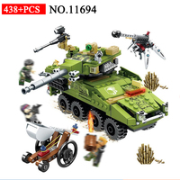 11694 438pcs Military Educational Building Blocks Toys For Children Army Car tank Chariot Weapon technic Boy Gifts