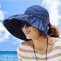 2016 Летом женские Широкими Полями Beach Sun Hat Мода Chapeu Feminino Складная Крышка Водонепроницаемый солнцезащитный крем летние шляпы для женщин