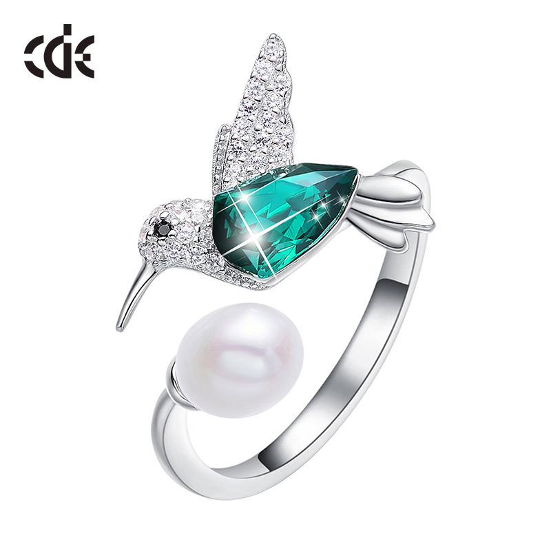 CDE 925 Silver Ring Embellished With Crystals Adjustable Women Ring Ringen Voor Vrouwen Hummingbird Pearl Jewelry
