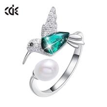 CDE 925 серебряное кольцо, украшенное кристаллами от Swarovski, регулируемое женское кольцо Ringen Voor Vrouwen Hummingbird, Жемчужное ювелирное изделие
