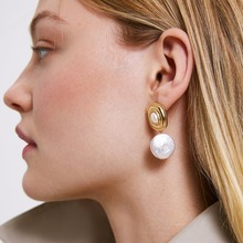 Gold 2019 Vintage Simulated Pearl Drop Earrings For Women Cute Fashion Metal Dangle Statement Earrings Party Jewelry Brincos 2019 fashion new best selling alloy drop sequin earrings niche temperament simulated pearl dangle brincos for women jewelry gift