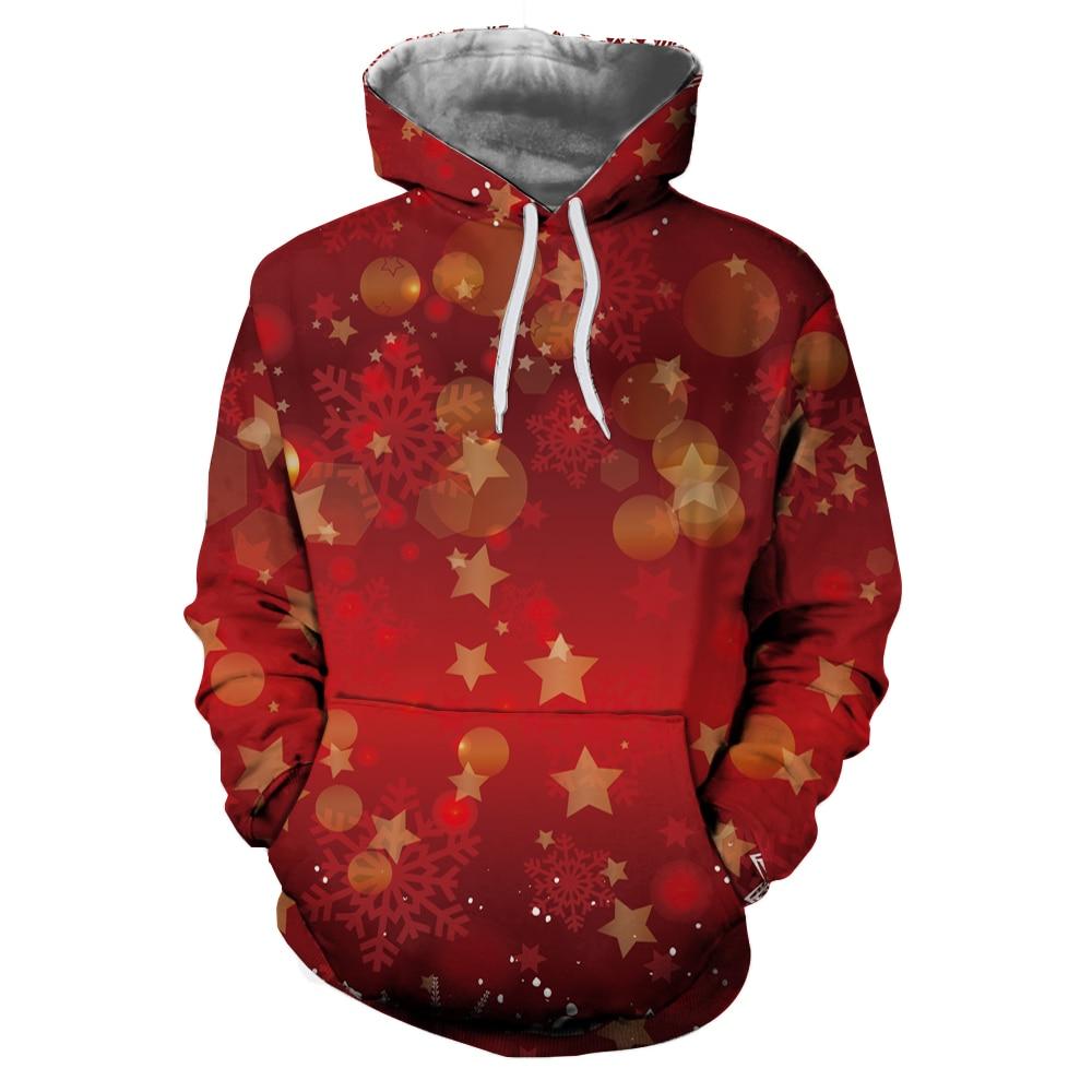 Cartoon Christmas Hoodie Sweatshirt Men Women Pullover Harajuku Deer Snowflake Printed Womens Hoodies Sweatshirts Jumper Tops 1