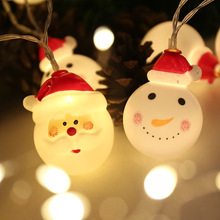 JSEX LED Snowman Santa Claus Lighting String White/Warm White Fairy Lights Battery Powered Christmas Holiday Garland Decoration
