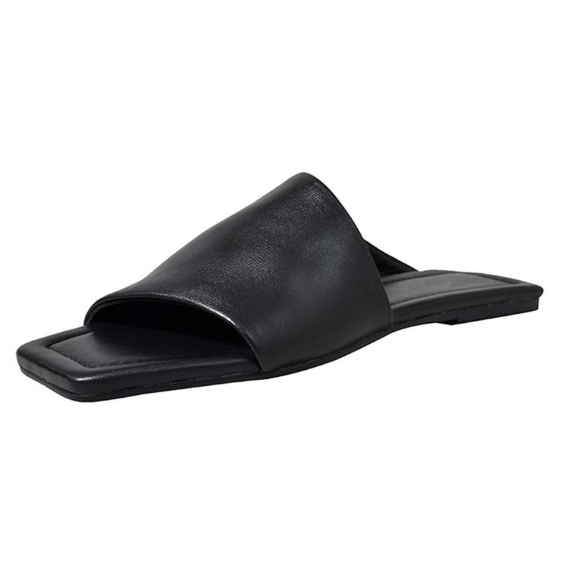 FEDONAS ลำลองผู้หญิงรองเท้าแตะฤดูร้อนของแท้ Sheepskin หนังตื้น Basic ผู้หญิงรองเท้าสบายรองเท้าแตะแฟชั่น-ใน รองเท้าแตะสตรี จาก รองเท้า บน   3