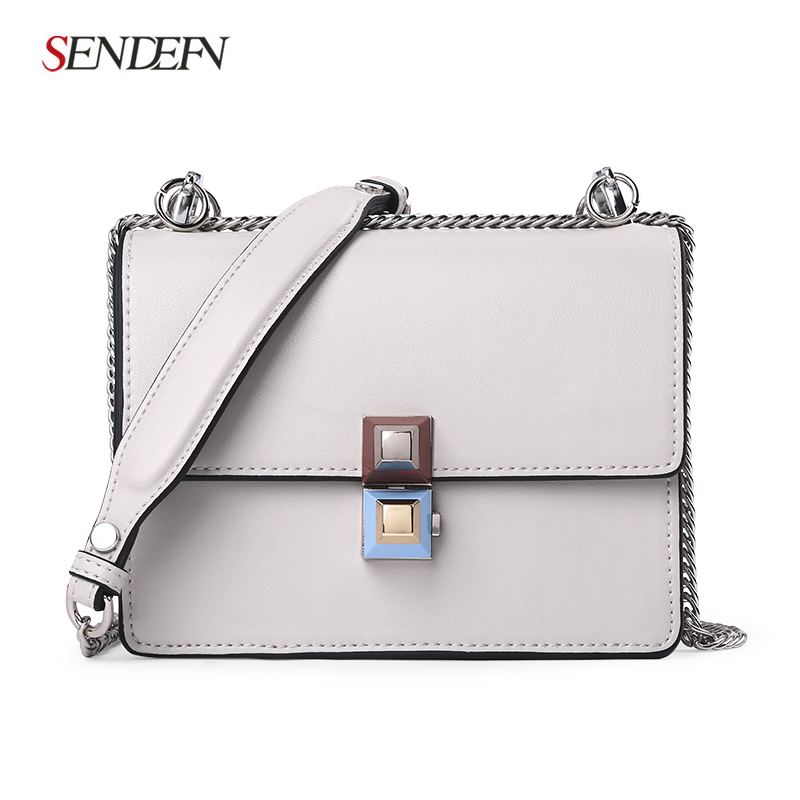 SENDEFN Brand Crossbody Bag Casual Shoulder Bags Women Small Fashion Split Leather New Messenger Bags Ladies With Specialy Lock casual small candy color handbags new brand fashion clutches ladies totes party purse women crossbody shoulder messenger bags