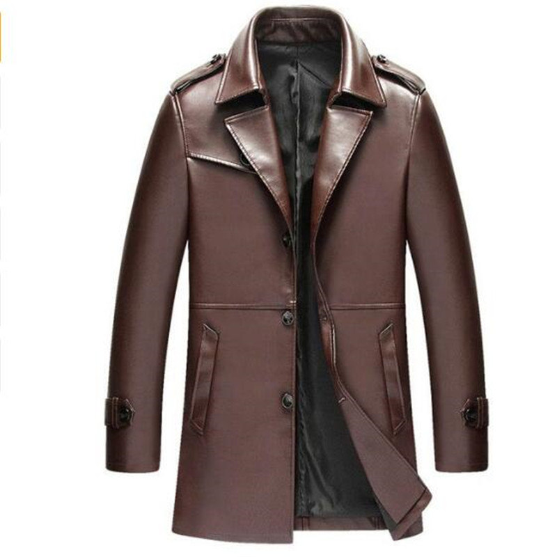 2018 Mens Brown Jacken Lange Mäntel Hochwertigen Winter Kleid Business Revers Graben Pu Wind Mantel Männer Lederjacke