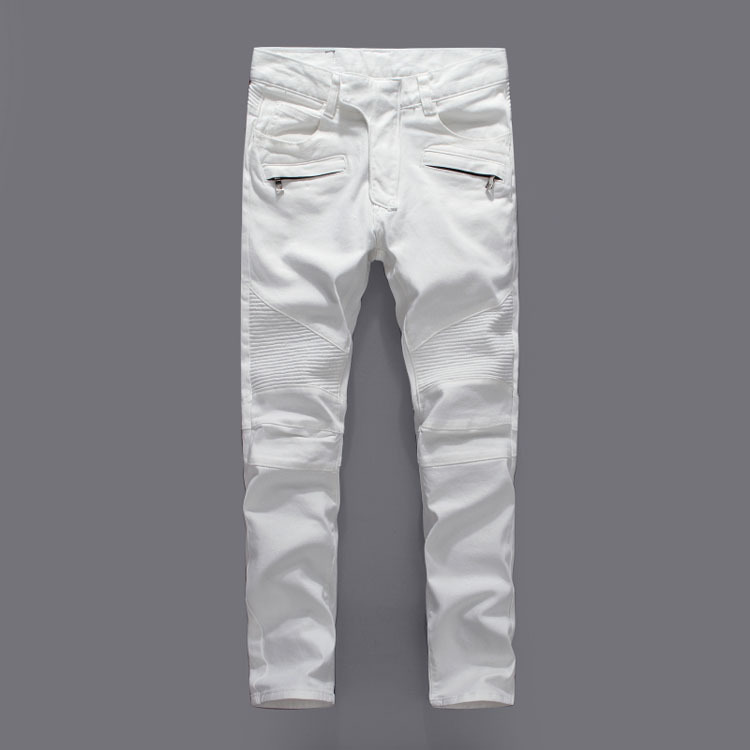 30e75cfc19d60 White Biker Jeans Men Skinny Slim Famous Italian Brand Jeans Men Stretch  Zipper High Quality Denim