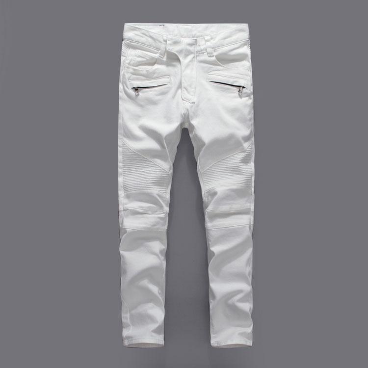 Balmain jeans White Biker Jeans Men Skinny Slim Famous Italian Brand Jeans Men Stretch  Zipper High Quality Denim Pants Male Plue Size 40 42-in Jeans from Men's  Clothing ...