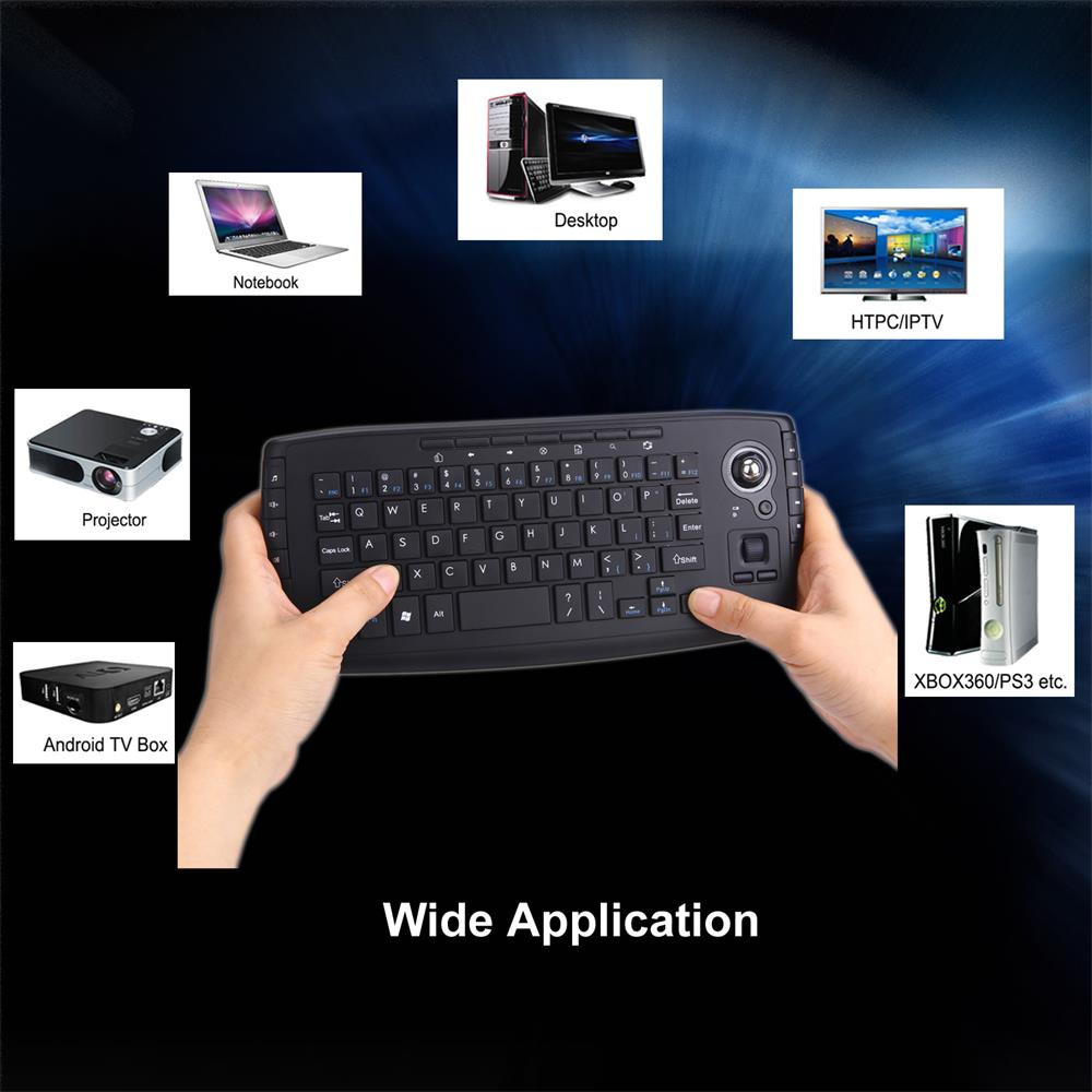 2.4G Mini Wireless Keyboard Multi-media Functional Trackball Air Mouse 20A Drop Shipping