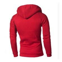 Mens Running Flag Print Pullover Hooded Zipped Sweatshirt