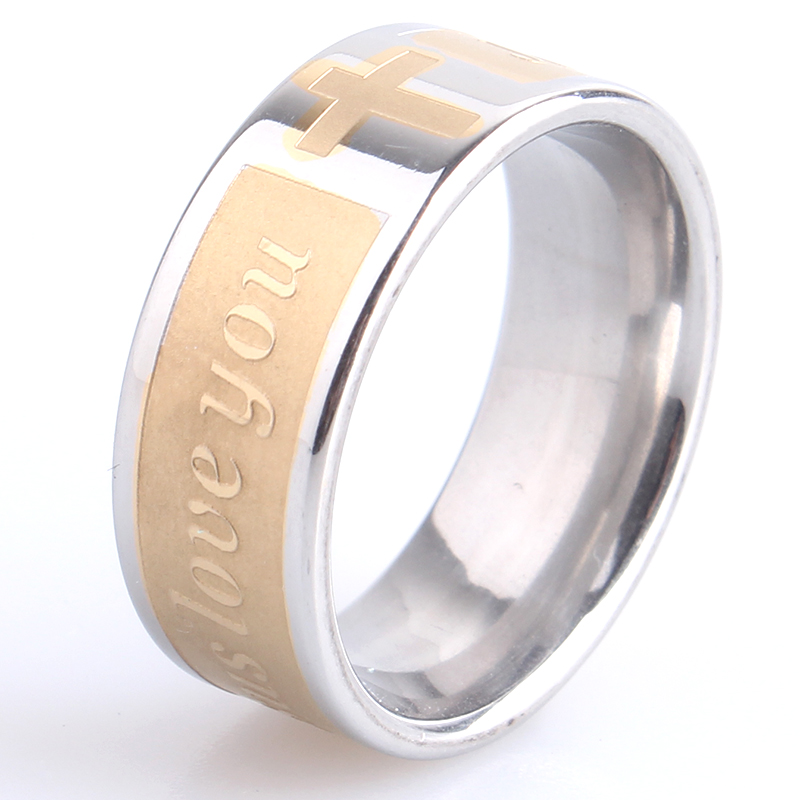 free shipping 8mm gold silver cross JESUS LOVE YOU 316L Stainless Steel finger rings for men women wholesale