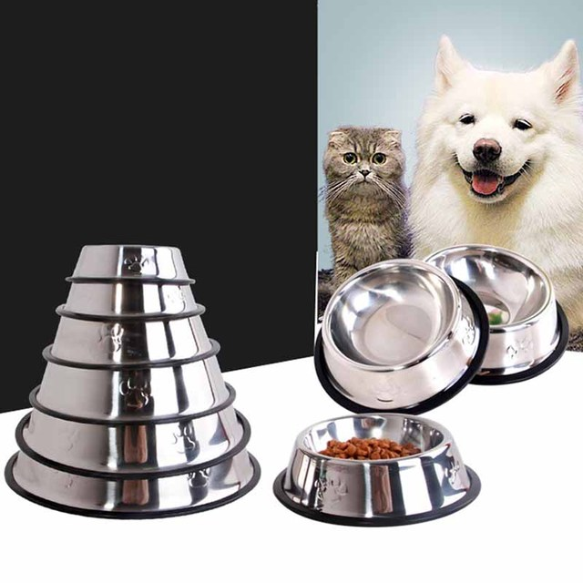 Stainless Steel Dog Feeders Pet Utensils Cat Dog Bowl for Dogs Puppy Food Bowl Durable and Antiskid 6 sizes Pets Products