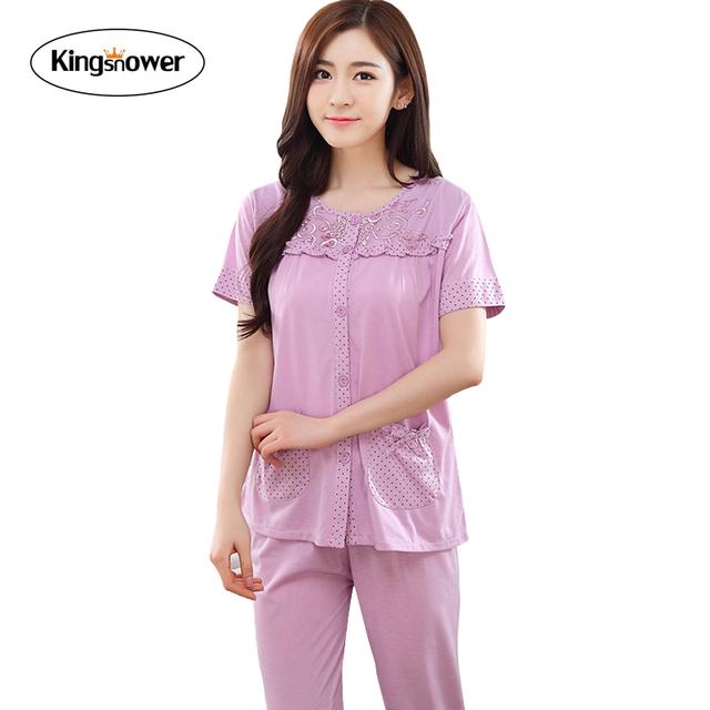 2016 Novo Verão de Algodão de Manga Curta Mulheres Pijama Conjuntos de Pijama Leisurewear Sleepwear Camisola Salão Informal Plus Size 3XL JA5002