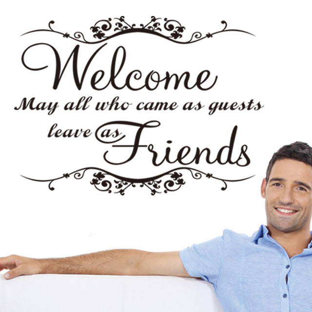 Welcome my friends wall stickers greeting words for door wall decals welcome my friends wall stickers greeting words for door wall decals home decor waterproofing vinyl wall m4hsunfo