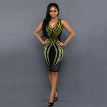 Geometric U-Neck Print Party Dress