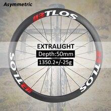 700c wheelset asymmetric 50mm deep Lightest wheel 1350g Warranty 2 years aero clincher carbon road bike wheels - WRC-50AL